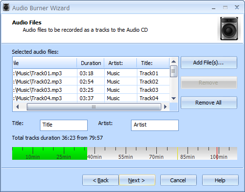 What is possible with StarBurn? > Burning an audio CD from